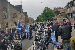 A large number of Yes Bikers made it to Galashiels to support independence marchers, although several say they suffered punctures on the way  due to screws being thrown on the road in Earlston.