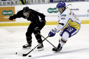 Action from one of Flyers' previous meetings with Herlev Eagles in 2017, featuring former player Peter LeBlanc. Pic: Steve Gunn
