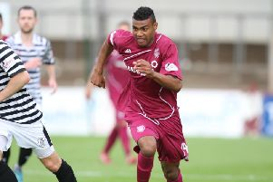 Joao Vitoria in action for Arbroath in 2015. Pic: Graham Black