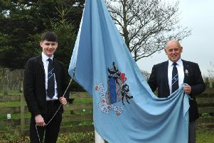 Carluke Golf Club captain John McNeil (right) is pictured with junior captain Callum Wallace at 2019 club opening day this spring