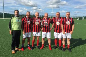 Gala Fairydean Rovers, Walking football team'Glenn Milne, John Dodds, Jim McLaren, Jim Watters, Gordon Rae and Howard Edge
