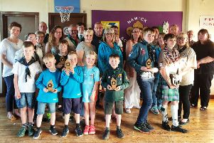 Hawick Scout Group with their awards at their AGM in May.