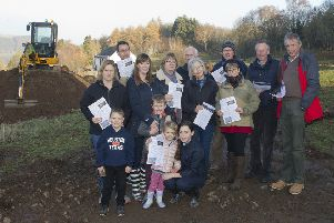 Objectors at the site of the proposed development near Dingleton Road, Melrose.