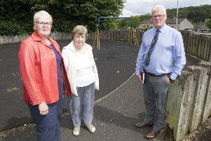 Councillors Clair Ramage and Stuart Marshall with Burnfoot Community Council chairman Anne Knight at the Burnfoot playpark.