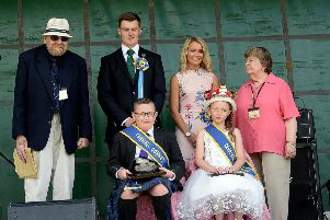 From left, Burnfoot Community Council vice-chairman Jamie Batten, Hawick Cornet Connor Brunton, cornet's lass Victoria Campbell, community council chairperson Ann Knight, Burnfoot lad Ryan Scott and carnival queen Leah Bell at Burnfoot Carnival.