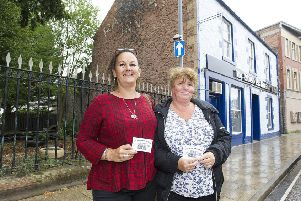 Wilma Howe and Maria Gray at the site of the Railway Inn in Galashiels.