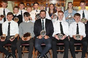 Some of the recipients at Melrose junior awards presentation (picture by Douglas Hardie).