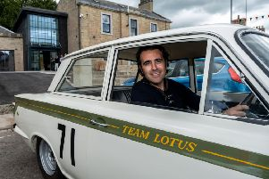 Dario Franchitti, former winner of the IndyCar Series, Indianapolis 500 and 24-hr Daytona event, delivers a car to the new Jim Clark Museum.