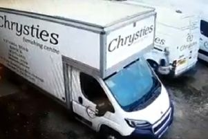 A man filmed on Chrysties Furnishing Centre's CCTV system apparently trying to open van doors.