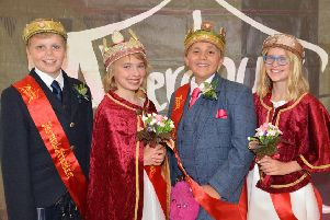 The Royal Party at last year's Aberdour Festival: Peter Bryden attendant 12 Queen Zoe MacNulty 12,Attendant Maddy Phillips 11,, Myles Adam King 12, Attendant Maddy Phillips 11. Pic: George McLuskie.