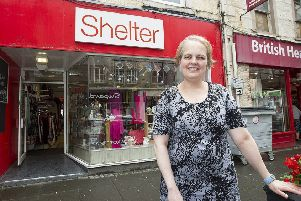 Donna Mackie at the Shelter charity shop in Hawick High Street.