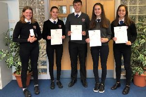 Exam results 2019 'Becky Forster, Amy Davenport, Gareth Williams, Blythe Duff and Sarah Davenport from Jedburgh Grammar were among those celebrating.