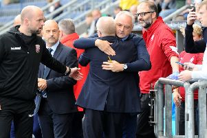 Falkirk manager Ray McKinnon with Ian Kerr, dad of Stephanie Kerr who died aged 22 last week. (picture: Michael Gillen)
