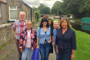 Members of the Ladywell Way walking group with Linlithgow MSP Fiona Hyslop (right).