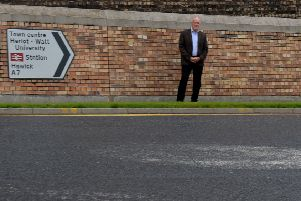 Councillor Harry Scott at the Ladhope Vale roundabout in Galashiels.