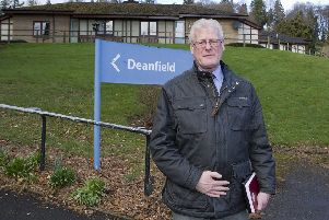 Councillor Stuart Marshall at Deanfield Care Home in Hawick.