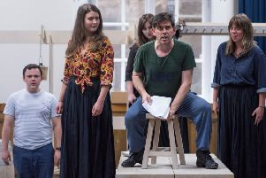 Cast members rehearsing for Scottish Opera's Amadeus and the Bard.