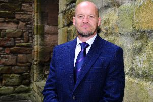 Scotland rugby coach Gregor Townsend at Linlithgow this week for the announcement of his world cup squad.