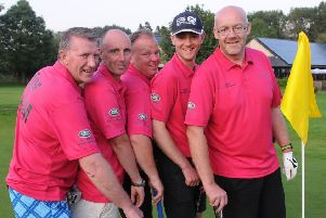 Ally Purves, Craig Thorburn, John Ritchie, Matthew Mackay and David Nichol at the end of their 72 holes at the Woll in Selkirk (picture by Grant Kinghorn)