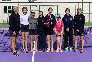 At the 14U event were, from left, Lesley Thomas (coach), Lara Jeffrey, Tamar Nicod-Rogerson, Suzie Armstrong, Daisy Scott-Watson (winner), Ruby Mackenzie (runner-up), Mhairi Buchanan and Kate Bull (coach).