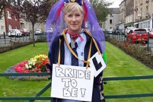 Bride-to-be Angie Brady outside William Lockie and Co's factory in Hawick.