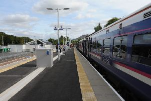 ScotRail train at Tweedbank station, the end of the line for the Borders Railway line