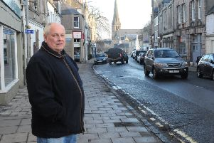 Councillor Gordon Edgar in one of the eight Borders town centres covered by CCTV at the moment, Selkirk's.
