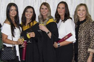 Ashleigh Tate, Stacy Lumsden, Tracy McCallan, Sam Douglas and Sharon George at the Borders College graduation.