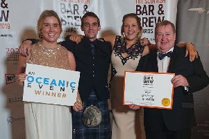 Michelle Mackay, John Ferguson, Gillian Thomson and Roddy Mackay of the Central bar in Peebles at this week's Scottish Bar and Brew Awards.