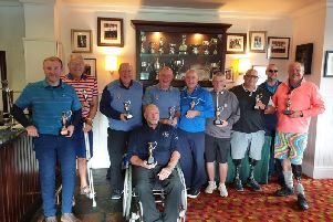 Martin Webb (1st left) with Scottish Pan-Disability Open Golf Championship trophy