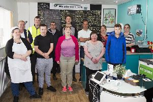 Staff and trainees at the Whistle Stop Cafe, Tweedbank.