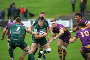 Two yellow cards proved green-clad Hawick's undoing against Troon visitors Marr (picture by Kenny Baillie)