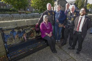 Jean Doogan, Kenny Syme, Jeanette Hartley, Harry Scott, Sandy David and Councillor Euan Jardine at the new bench.